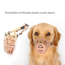 Wholesale Basket Dog Muzzles - Adjustable Breathable Comfortable Pet Dog Supply Basket Muzzle Anti Bite Mask Mouth Mesh Cage 7 Size Plastic