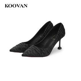 Wholesale Hot Club Heels - Koovan Satin Pleated Women Pump Dress Shoes 7 Cm Kitten Heel Shoes 2017 Night Club Hot Sale Pointed Shoe W530