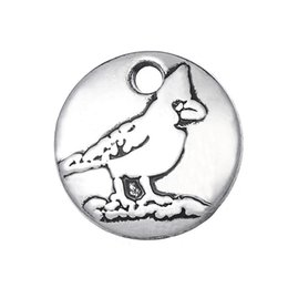 Wholesale Bird Charms Jewelry Making - Free shipping 12*12mm Tiny Antique Silver Plated Cardinal Charms for Bracelet Making Bird Jewelry Nature Style 10pcs jewelry making