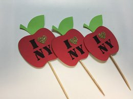 Wholesale New York Shower - wholesale I Love New York cupcake toppers inserts cards food picks wedding baby bridal shower Cake Accessories decorations