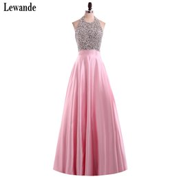 Wholesale Imported Photos - Lewande Long Elegant Prom Dresses 2017 Satin Halter Beaded Imported Party Dress Floor Length Prom Dresses