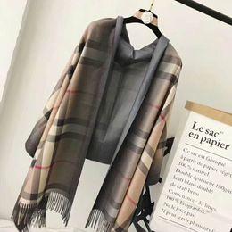 Wholesale Beautiful Wool - 100% Wool Stripe Scarf Luxury Brand Colorful beautiful Winter Classic Women Warm Plaid Scarves length 190*80cm