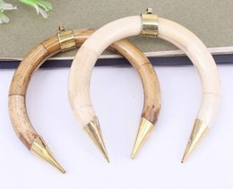 Wholesale Horn Bone Jewelry - 3pcs Fashion Big Size Natural Bone Crescent Pendant,With Gold Metal Alloy,Charm Gemstone Double Horn Pendant for Making jewelry