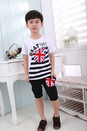 Wholesale British Clothing Brands - New Boys Casual Suit children's Summer T-shirt +Pants baby boys British flag clothing set cotton clothing