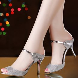 Wholesale Hot Selling Flip Flops - hot sell! women Sandals sweet fish mouth high-heeled silver female sandals in the summer of 2016 the new heel