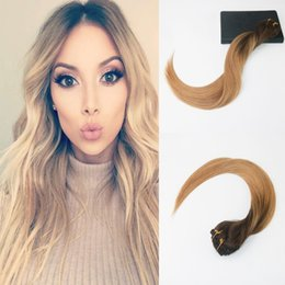 Ombre brazilian clip hair extensions canada best selling ombre 7pcs 120g high quality brazliian hair 4 fading to 14 ombre balayage color straight hair full set clip in hair extensions pmusecretfo Images