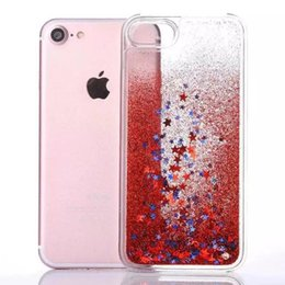 Wholesale moving case iphone - Colorful Moving Shining Stars Liquid Glitter Quicksand Bling Phone Case Cover For Iphone 7 7plus 5 6 6s plus Samsung S6 S7 edge