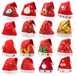 Wholesale Girls Santa Hat - LED Christmas Hat Child Kids Adults Party Hats Santa Red Accessories Decorations For Holiday Christmas Party