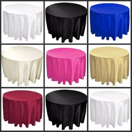 """Wholesale Ivory Satin Table Cloths - 108"""" white black ivory color Satin Table Cloth Round Satin Tavle Cover for Banquet Wedding Party Decoration Supplies High Quality"""