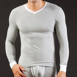 Wholesale Underwear Men S T Shirt - Mens Long Underwear WJ Brand Modal V-Neck Long Sleeve Top T-Shirts Autumn Winter Thermal Warm Sleepwear Undershirts