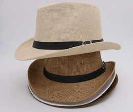Wholesale Wholesale White Straw Cowboy Hat - Free Shipping 6 Colors Vogue Men Women Straw Hats Soft Fedora Panama Hats Outdoor Stingy Brim Caps