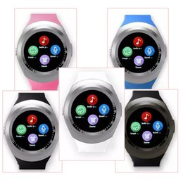 Wholesale Round Face Watches - Hot Y1 smart watches Latest Round Touch Screen Round Face Smartwatch Phone with SIM Card Slot smart watch for IOS Android