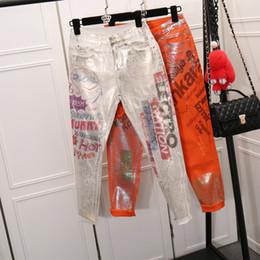Wholesale Oil Paint Pants - Wholesale- 2017 cartoon oil painting street denim jeans, letters print pants
