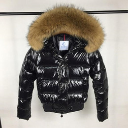 Wholesale Short Feathered Jacket - Quality M Raccoon Fur Collar Down Jacket Red & Balck Colors Women Duck Down Coat Short Style Fashion Feather Dress Parkas