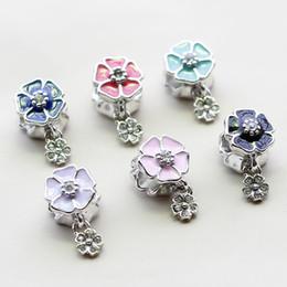 Wholesale Wholesale Pandora Cherry Blossom - Silver Plated Bead Charms European Cherry Blossoms Flower Pendant Bead Fit Women Diy Pandora Bracelets & Bangles