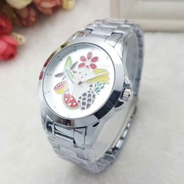 Wholesale Images Watches - Unisex men women watches luxury brand 40mm dial with fruit image Full Stainless Steel band fashion watch for mens ladies girl boy best gift