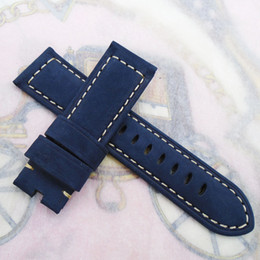 Wholesale Panerai Watches - 24 22mm Width 120 75mm Blue Nubuck Calf Leather Strap For Panerai or other LUNMINOR RADIOMIR watch