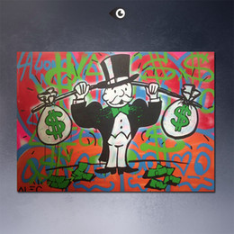 Wholesale Giclee Poster - different colors Alec monopoly wall street art canvas print POP ART Giclee poster print on canvas for wall painting