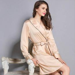 Wholesale House Robes - Wholesale- Silk Robe Housing Bathrobe Long Sleeve Nightgown Robe De Chambre Femmes Nuit Shirt Women's Underwear Silk Nightdress Home Wear