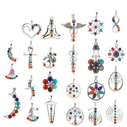Wholesale Wholesale Crystal Religious Necklace - Hot Newest Natural Crystal Gemstone Pendant For Necklace Inlaid Stones Seven Chakra Religious Alloy Personality Natural Jewelry