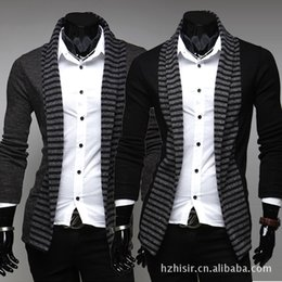 Wholesale Xxl Mens Knit Cardigan - 2016 Autumn Mens Sweaters Fashion No Buttons Solid Color Minimalist Slim Fit Brand Cardigan Pullover 2 Colors Striped Coat M-XXL