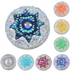 Wholesale Fix Buttons - (Fixed Mixed)Snap Button Jewelry 7PCs Shining Snap Button AB-Color Powder Octagonal Star Resin Alloy For Snap Bracelet 18mm noosa