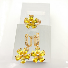 Wholesale Drop Coral Earring - Flower Gold Yellow 925 Sterling Silver Jewelry Sets For Women Drop Earrings Rings Size 7 8 9 Free Gift Box