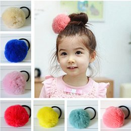 Wholesale Kids Fur Headbands - Lovely Rabbit Fur Cute Round Pom Ball Girl's Lovely Hair Ties Ropes Kids Accessories Childrens Headband