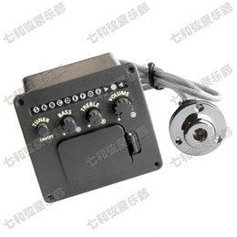 Wholesale Guitar Preamp Tuner - 4-Band EQ Guitar Equalizer Piezo Pickup Pre-Amp Acoustic Guitar Preamp Amplifier Tuner Professional Accessories Guitar parts