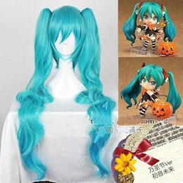 Wholesale Miku Wigs - Free shipping New High Quality Fashion Picture wig >>Vocaloid miku Long Blue HALLOWEEN Cosplay Party ver Wig Hair