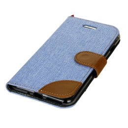 Wholesale Chinese Denim Brands - For Iphone 7 Plus Iphone7 I7 OnePlus 3 Huawei P8 LITE 2017 CANVAS Wallet Leather Jean Case Stand Card TPU Pouch Dual Tone Denim Cover 5pcs