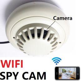 Wholesale Ip Camera Spy Smoke - HD Security IP Camera WIFI Wireless Smoke Detector Remote Anti Theft Spy Hidden Cam