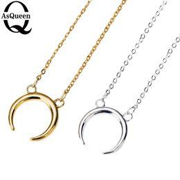 Wholesale Couple Pendants Gold - Wholesale-2016 New Gold Silver Simple Crescent Moon Women Necklace Plain Half Moon 17mm Pendant Necklaces for Women Couple Necklace