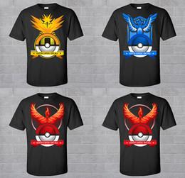 Wholesale Team T Shirts Wholesale - Poke Go T-Shirt Team Instinct Valor Mystic T-shirts DHL men woman kids Poke Ball Pikachu Jeni turtle Charmander Short sleeve T-shirts B001