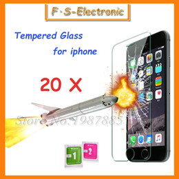 Wholesale Transparent Screen For Iphone 4s - 20Pcs Lot 0.3mm Super Thin Tempered Glass Film for iPhone 7 6 6s plus 5 5s 5c 4 4s Transparent Screen Protector with Clean Tools