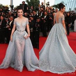 Wholesale cross over - 2016 Illusion Beaded Celebrity Dresses Over Skirts Jewel Short Sleeves with Detacheable Train Floor Length Evening Gowns