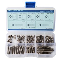 Wholesale packing nuts - M4 Flat Head Torx Screws Assortment Set Stainless Steel Pack of 80-Piece