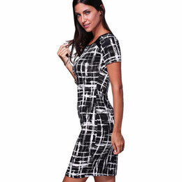 Wholesale Ladies Summer Outfits - Women's 2016 Spring Summer Printed Outfits Ladies Work Office Business Short Sleeve Pencil Bodycon dashiki Dress