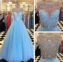 Wholesale Black Sheer Shirts - Real Picture Sky Blue Prom Dresses 2017 Beaded Collar Sheer Crystal Back A Line Evening Formal Wear Quinceanera Pageant Gown Custom Made