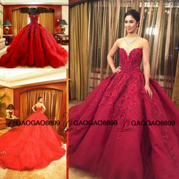 beaded back wedding dress bow Coupons - Michael Cinco Amazing Luxury Detail Ball Gown Red Wedding Dresses Sparkly Beaded Crystal Sweetheart Chapel Over Skirt Wedding Dress