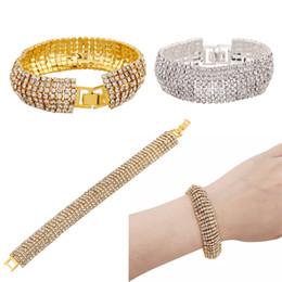 Wholesale Rhinestone Slave Bracelet Jewelry - Rhinestone Bracelet Bling Bling Charm Bracelet Jewelry Wristband Slave Bracelet Evening Party Bangles Gold Sliver E838L