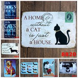 Wholesale Cat Feng Shui - Wholesale- Dog Cat Pet Metal Tin Sign Monkey Goose Owl Animals Vintage Wall Art Painting Plaque Pet Store Iron Poster Home Decoration