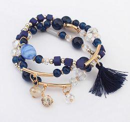 Wholesale Multi Charm Bracelets - Hot Sale Mix Beads Bracelets Women 3 Rows Tassel Pendant Bracelet Red Blue Coffee Multi Element Set Bracelet Girls Fashion Elastic Bracelet