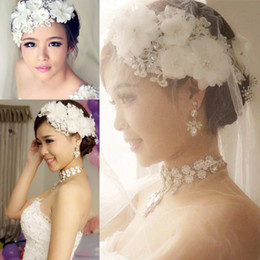 Wholesale Pearl Rhinestone Headbands - Bridal Lace Pearl Wedding Accessories Handmade Rhinestone Crystals Flower Headband Wedding Hair Jewelry Beads Bridal Hairwear Free Shipping