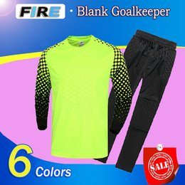 Wholesale 2016 Mens Goalkeeper Soccer Jerseys Sponge Protector Set Camisetas De Futbol Jersey Kids Goal Keeper Uniforms Long Sleeve training suits