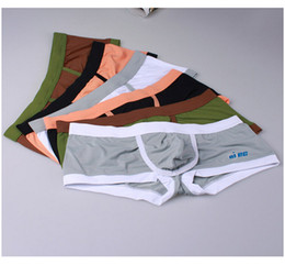 Wholesale Tight Boxers Underwear Wholesale - 2016 Man comfortable brand underwear bulge sexy panties low waist boxers gay flirt fashion trunks tight elastic shorts 6 colors free ship