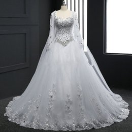 Wholesale Bling Shirts Rhinestone - Bling Bling Dazzling Long Sleeve Real Picture Crystal Beaded A Line Bridal Gowns Handmade Appliques Tulle Rhinestones New Wedding Dress Robe