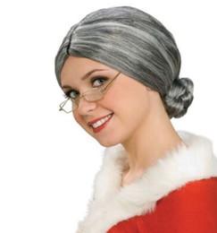 Wholesale Granny Dress - OlWIG Grey Hair old Lady man Granny Fancy Dress Costume Party Costume Fancy Dress