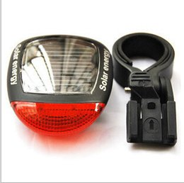 Wholesale Solar Energy Bicycle Tail Light - 2016 New Solar Energy Bicycle Light 2 LED Light Super Bright Bike Light Bicycle Solar Energy Tail Light Bicycle Light Rear Light DHL Free