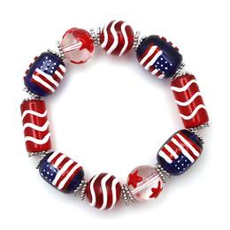 Wholesale Elastic Bracelet String - New Popular American flag painted glass bracelets hand-drawn hand string bracelets elastic paint bracelets for women